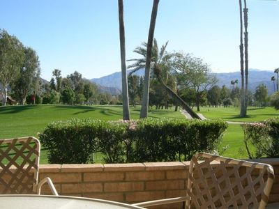 View of the 5th green and Santa Rosa Mountains from the patio