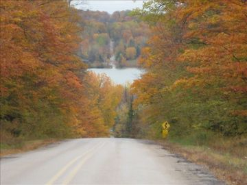 Road approaching Walloon Lake October 2009. We are LAKEFRONT, 1 mile south.