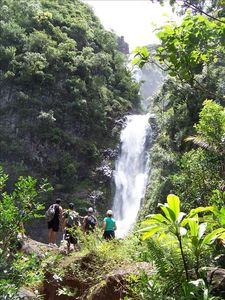 hike to the breathtaking Moaula Falls in the Halawa Valley,
