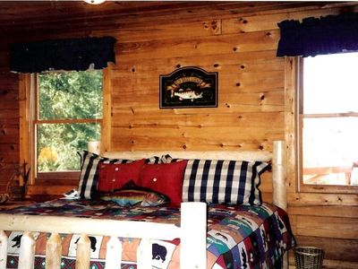 The lodge room has a king size bed and is located on the main floor.