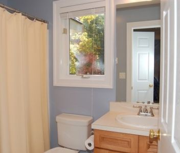 Main Level Blue Room Ensuite Bath with Heated Tile Floors