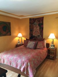 La Selva Beach townhome rental - Master Bedroom ,bathroom off private garden entrance.