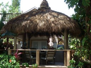 Englewood house photo - Latest addition: Custom Tiki Hut with dining table overlooking Lemon Bay