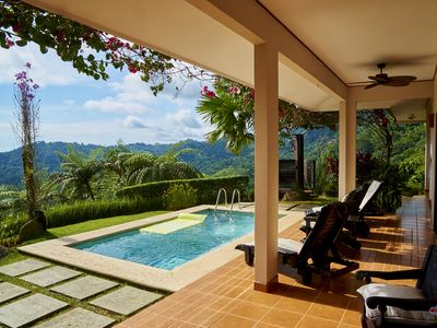 Veranda, garden mountain and pool view