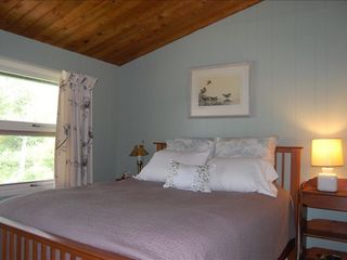 Jeffersonville house photo - Queen bedroom with garden and pond views