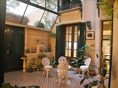 San Telmo apartment rental - Private conservatory/patio with antique tiles & fountain - the heart of the home