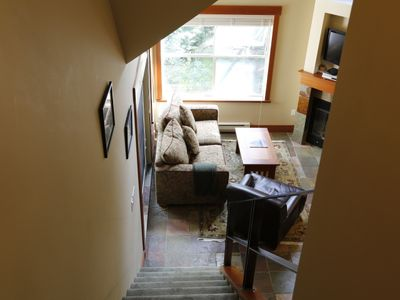View of living room from top of Loft stairs.