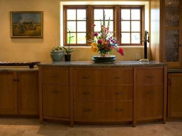 built in wine bar and serving buffet