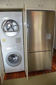 Highly convenient washer & dryer! Beautiful fridgerator too!