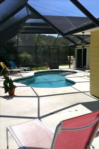 Private pool, lanai and fenced yard.  Dining & grill furnished areas. O/D shower