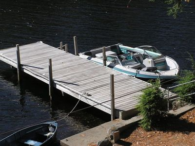 40' deep-water dock showing 20' Four Winns boat at dock.