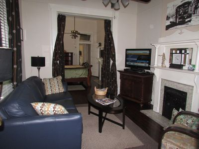 Beautifully decorated Den features VERY comfortable furniture and cable TV
