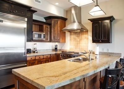 Kitchen with Viking appliances, granite countertops