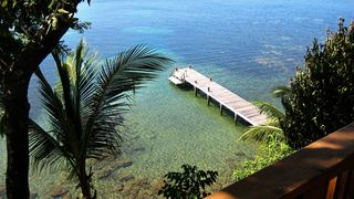 Roatan house photo - View of private dock from the deck -- great place to swim, float or snorkel
