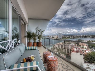 back terrace overlooking the cruise ship and sail boat terminal