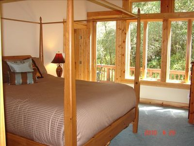 Napa estate rental - Master Bedroom, Door to Deck Overlooking Year Roun