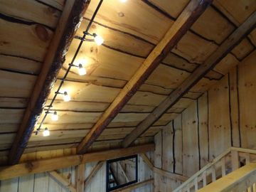 Hand hewn beams and lighting