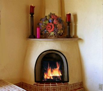 the kiva fireplace in the living room