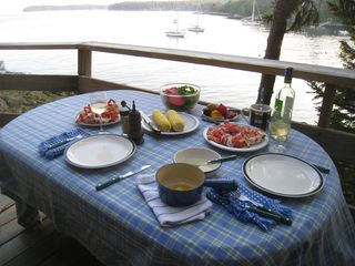 Westport Island cottage photo - Have a lobster feast on the deck!