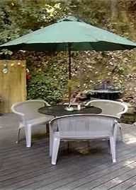 Ben Lomond cottage rental - Large deck area with fire pit