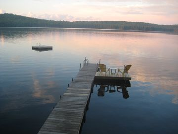 Sebago cottage rental - Our newly added side dock. Enjoy your early coffee while the sun comes up.