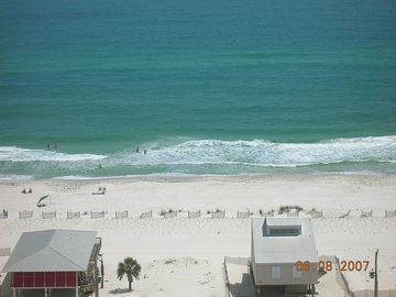 View of beach from your 30 ft private balcony