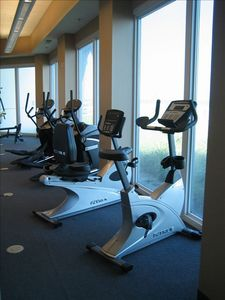 Fitness area overlooking the beach
