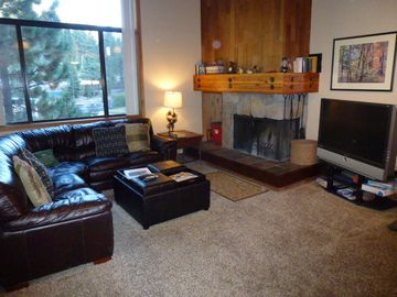 Alpine Meadows condo rental - Living Room with wood burning Fireplace