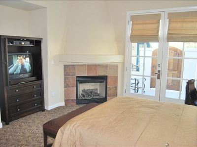 La Quinta villa rental - Second Master Suite with Queen Bed, patio, butlers pantry, fireplace and bath.