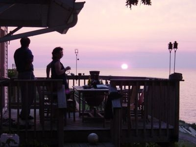 Enjoy meals on the deck overlooking Lake Erie