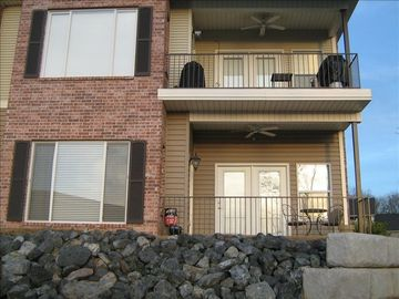 Rear view of condo. You'll be in the bottom unit (ground level--NO STAIRS)