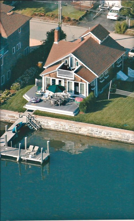 Groton cottage rental - The harbor view with a deep water dock