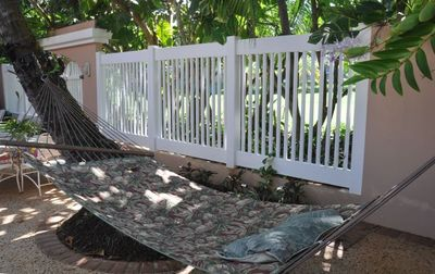 patio with hammock