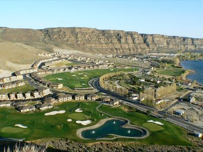 View of Sunserra resort and crescent bar from road above. Sunserra Golf Course