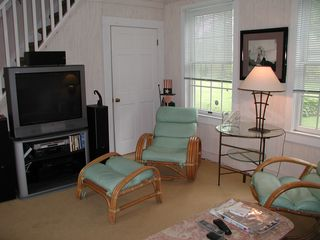 "Hampton Bays cottage photo - Living room 36"" Surround sound entertainment center"
