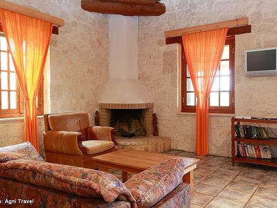 Vassilikos villa rental - Living Area (Sofa Bed for 1 Person if Required)