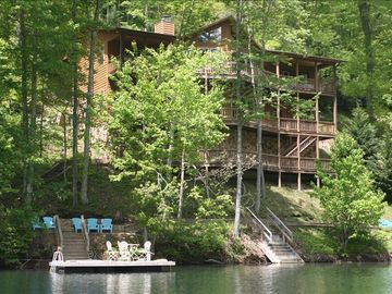 Lake Nantahala cabin rental - A view of our home from the lake