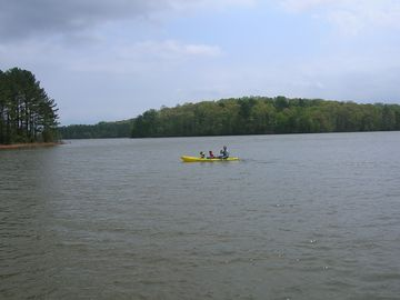 Lake West Point house rental - View from our dock of very deep and wide cove and kayak for your personal use