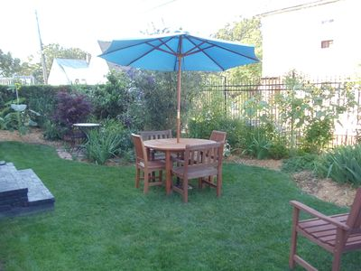 Yard is shared by all three units. View of the Bay. Multiple seating places