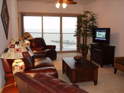 Living Room opening onto the Balcony and Overlooking the Gulf of Mexico