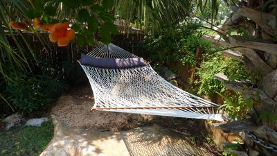 NEW, We have just added a 2 Person Hammock under the Palm Trees, Relax and enjoy