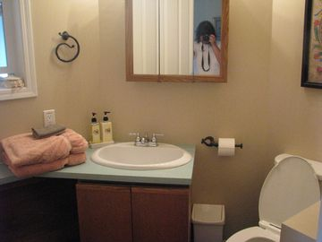 main floor bathroom with large fluffy towels!