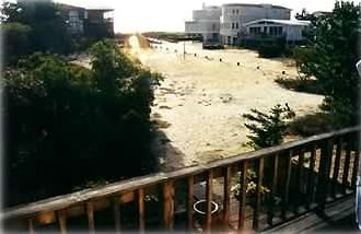 VIEW FROM UPPER DECK TOWARD OCEAN/VOLLEYBALL COURT/BOCCIE BALL COURT