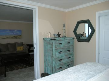 Large chest in master bedroom and lots of closet space. Pocket door for privacy