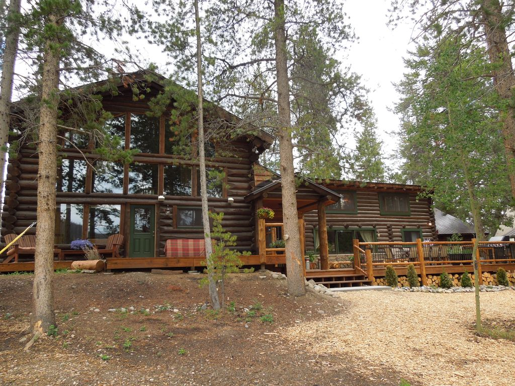 Large Lakefront Log Cabin W Private Homeaway Grand Lake