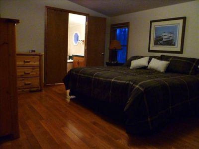 Harbor Springs house rental - Master bedroom and bath.