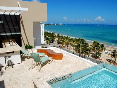 Rooftop terrace beach view