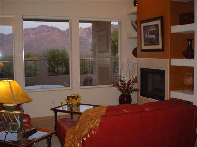 Great Room has unobstructed view of the Catalina Mountains