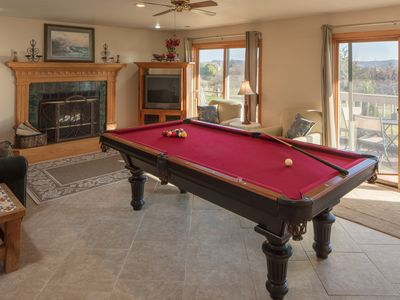 Lower Level Family Room - Pull out sofa, pool table and access to hot tub
