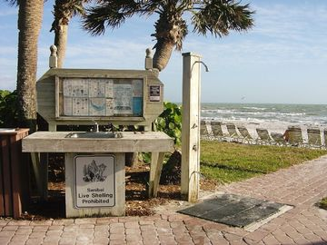 Shelling station on the beach.
